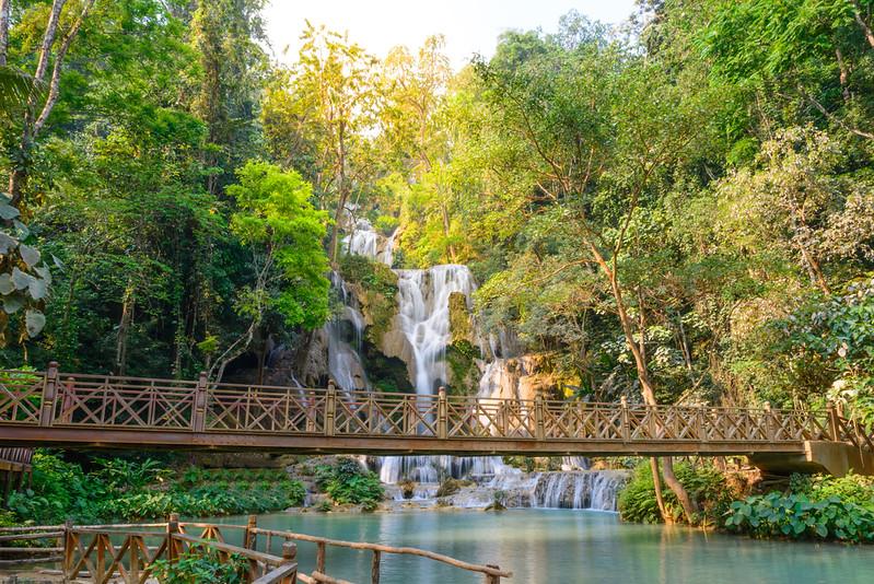 Kouangxi waterfall with wooden bridge at Luang Prabang