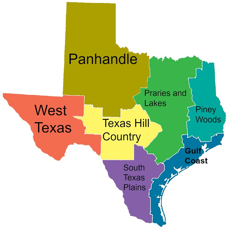 Map of Texas Regions