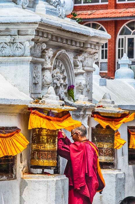 Monk at Bauddhanath Stupa Kathmandu Nepal