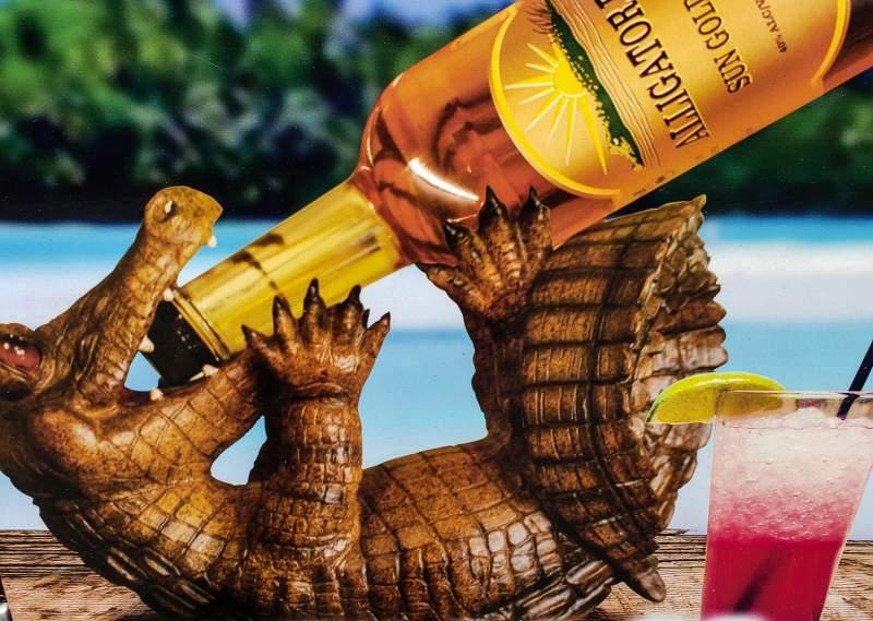 Alligator drinking Rum