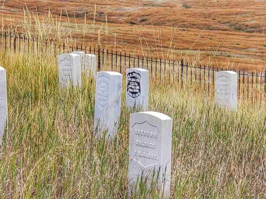 grave marker of General George Armstrong Custer Little Bighorn Montana