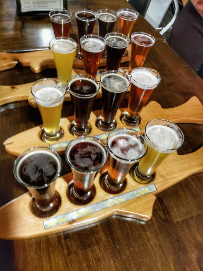 Beer flight at Mighty Mo Brewery