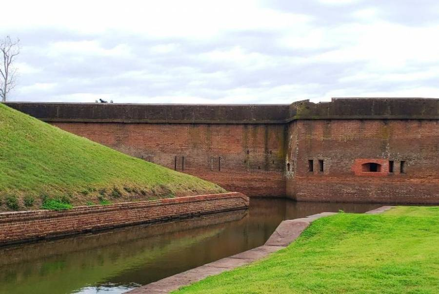 Outer wall and moat
