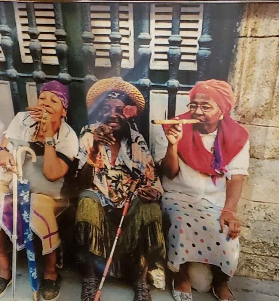 Cuban ladies smoking cigars